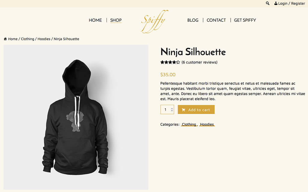 Spiffy WooCommerce Single page
