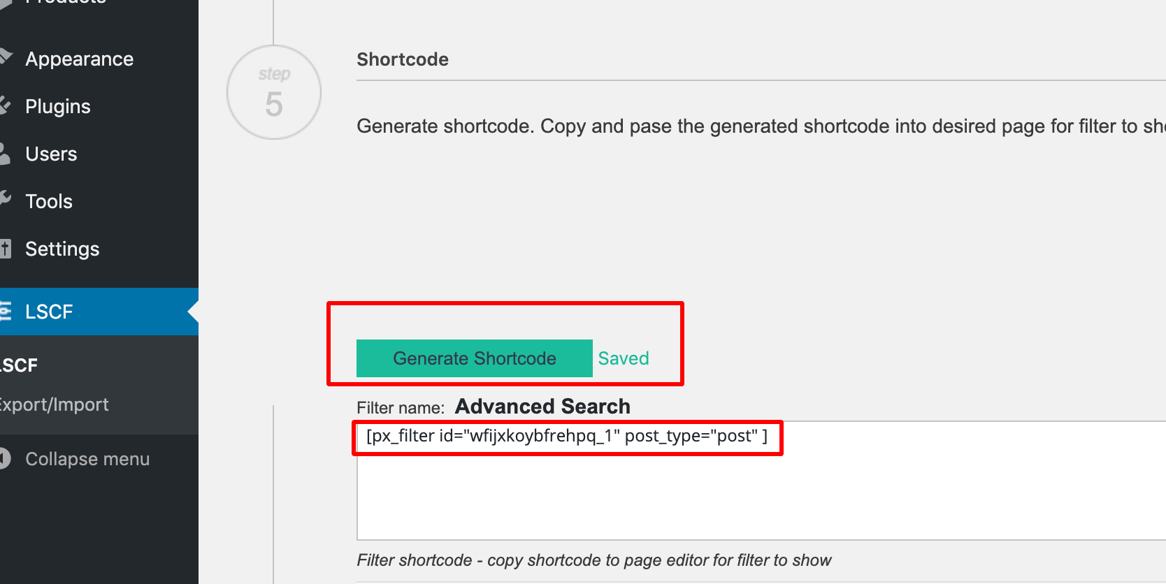 create the search shortcode and add to WordPress pages