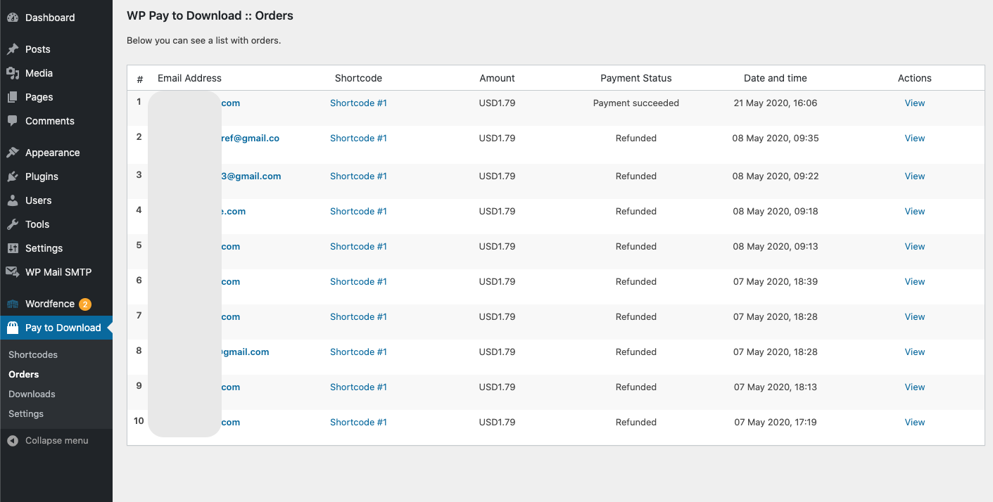 Orders Page